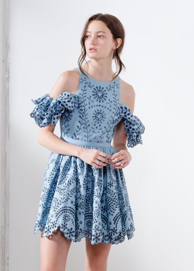 Aje charmbray embroidery summer mini dress lady Edwina.