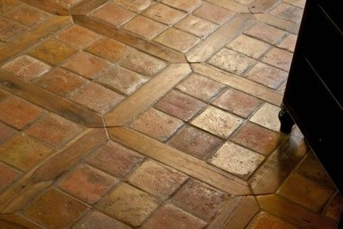 Another pic of tile/wood combo Antique Reclaimed French Terracotta Oak Floor Inlay