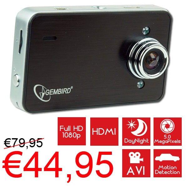 Compacte HD dashcam met nachtzicht en ingebouwde microfoon voor €44,95!  www.euro2deal.nl