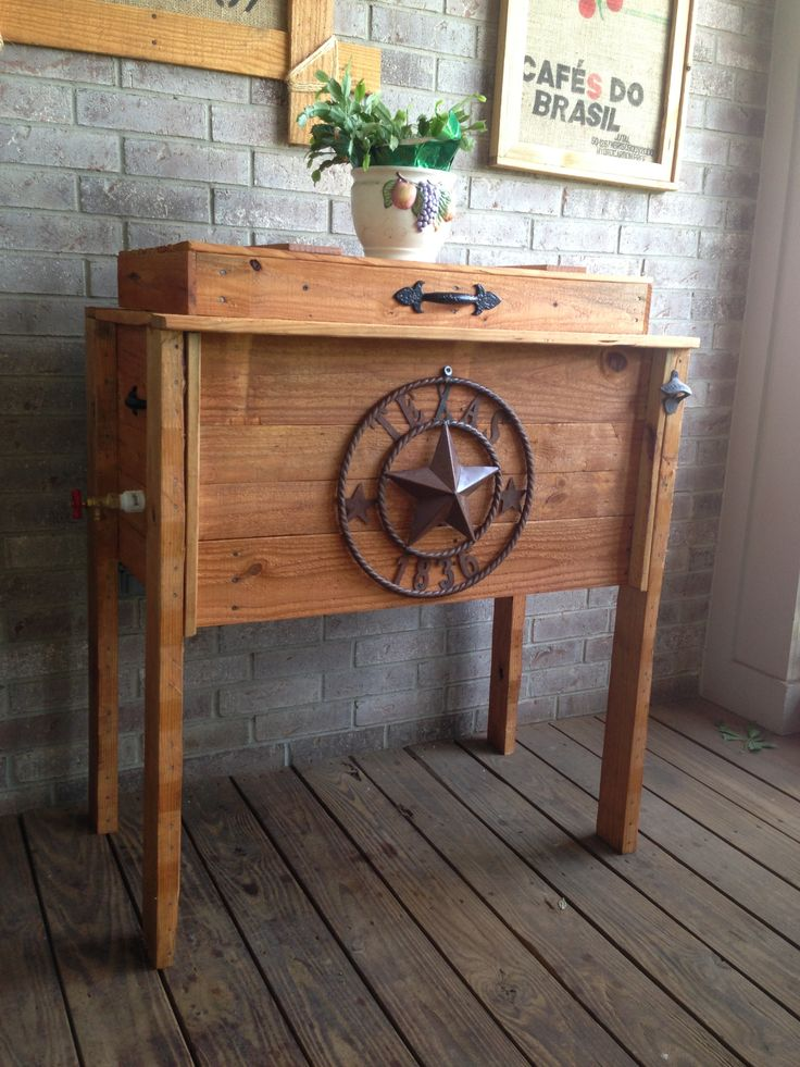 Rustic Wood Pallet Ice Chest Wooden Furniture