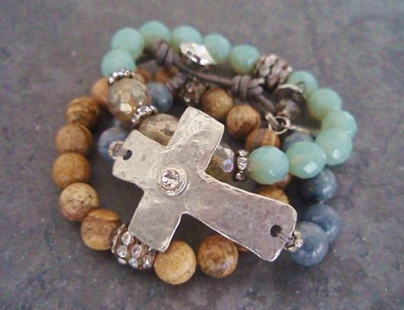 Sideways cross bracelet 'Sacrifice' denim steel blue gray artisan cross angel wing crystal religious rustic country boho