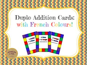 What child doesnt love building with duplo? If you are unfamiliar with duplo, they are the larger lego blocks. This activity combines the love of duplo with simple addition and French colour vocabulary! (rouge, jaune, bleu, vert, orange, violet)Instructions: Print out the duplo cards.