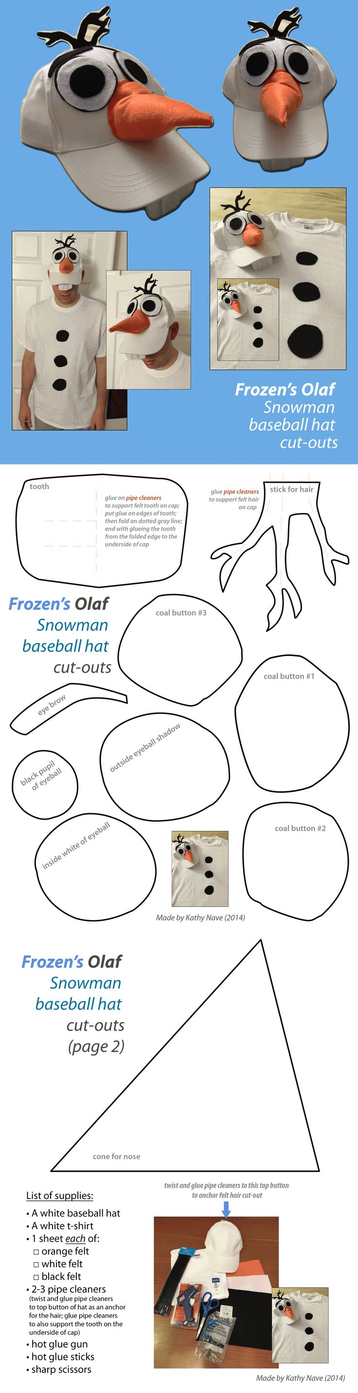 How to DIY/make Disney's Frozen Olaf Snowman baseball hat and t-shirt costume (high res file)