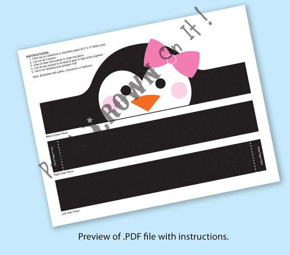Penguin Girl Crown  Printable
