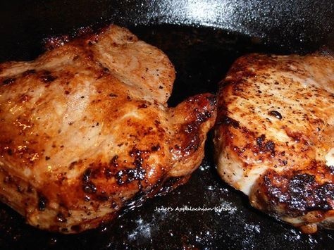 "Ingredients :  2 bone in pork loin thick cut pork chops (mine were just over 1"" thick)  1/8 C. soy sauce  1 T. balsamic vinegar..."