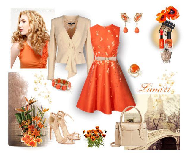 orange by lumi-21 on Polyvore featuring Elisabetta Franchi, Alexandre Birman, Foley + Corinna, Aqua, Givenchy, NYX, ORLY, Cartier, orange and sandals
