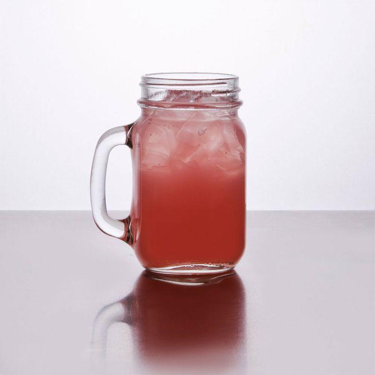 Mason Jar / Drinking Jar with Handle - 16 oz. 12 / Case.  This website has the best price per jar.  www.webstaurantstore.com