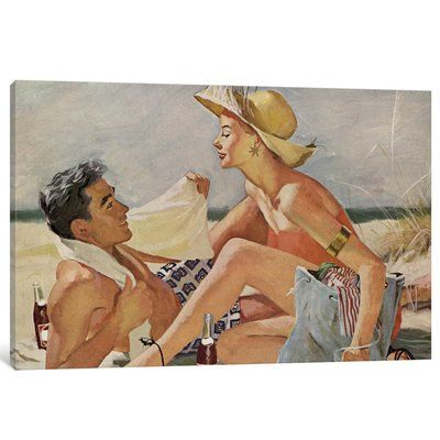 """East Urban Home 'Glamourous Beach Couple' Painting Print on Canvas Size: 26"""" H x 40"""" W x 0.75"""" D"""