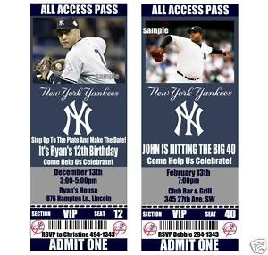 NEW YORK YANKEES Birthday Party Invitations-