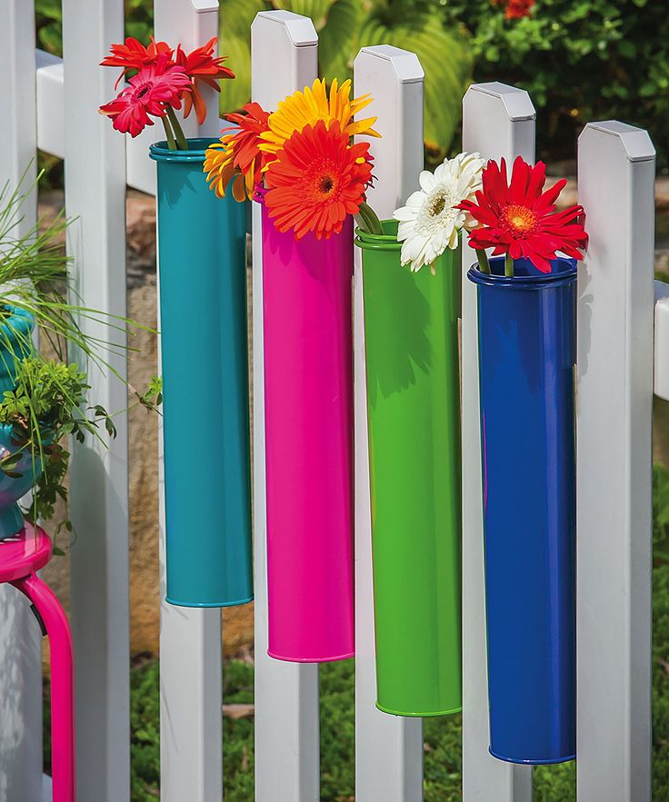 Aren 39 t these cute hanging rail flower planter set add a for Colorful hanging planters