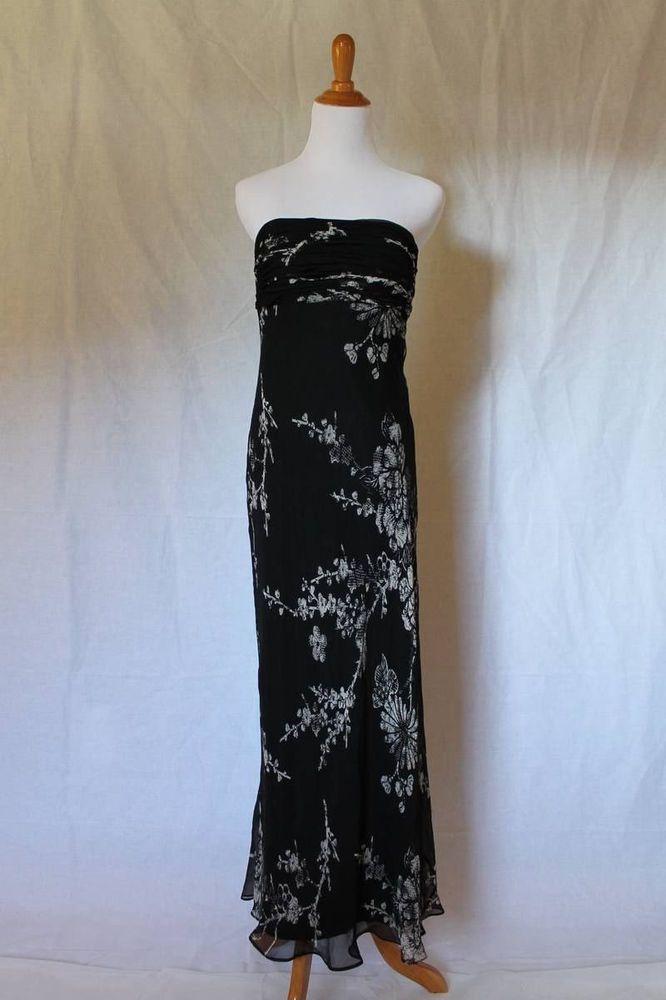 David Meister Collection USA Black Silk Chiffon Column Gown Maxi Summer  Dress 6 #DavidMeister #Sheath #Cocktail
