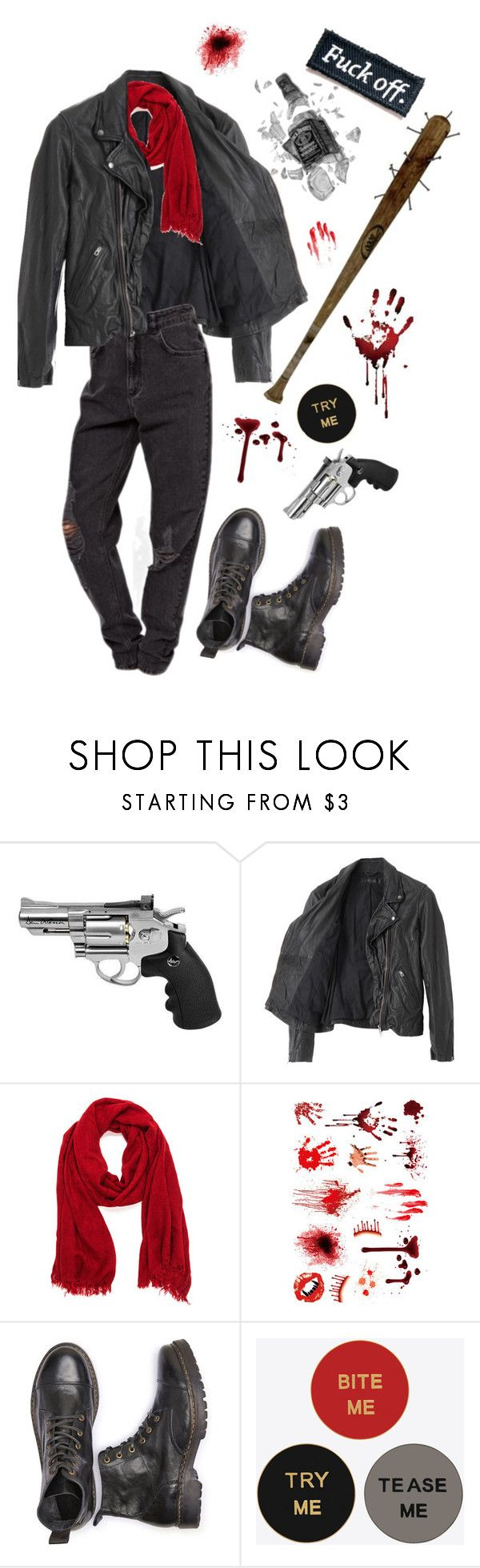 """{negan}"" by benevolent-bby ❤ liked on Polyvore featuring American Rag Cie, Yves Saint Laurent and TWD"
