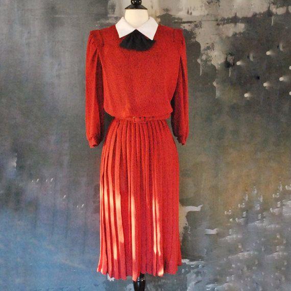 Red School Teacher Dress Vintage Red Dress w/ Belt