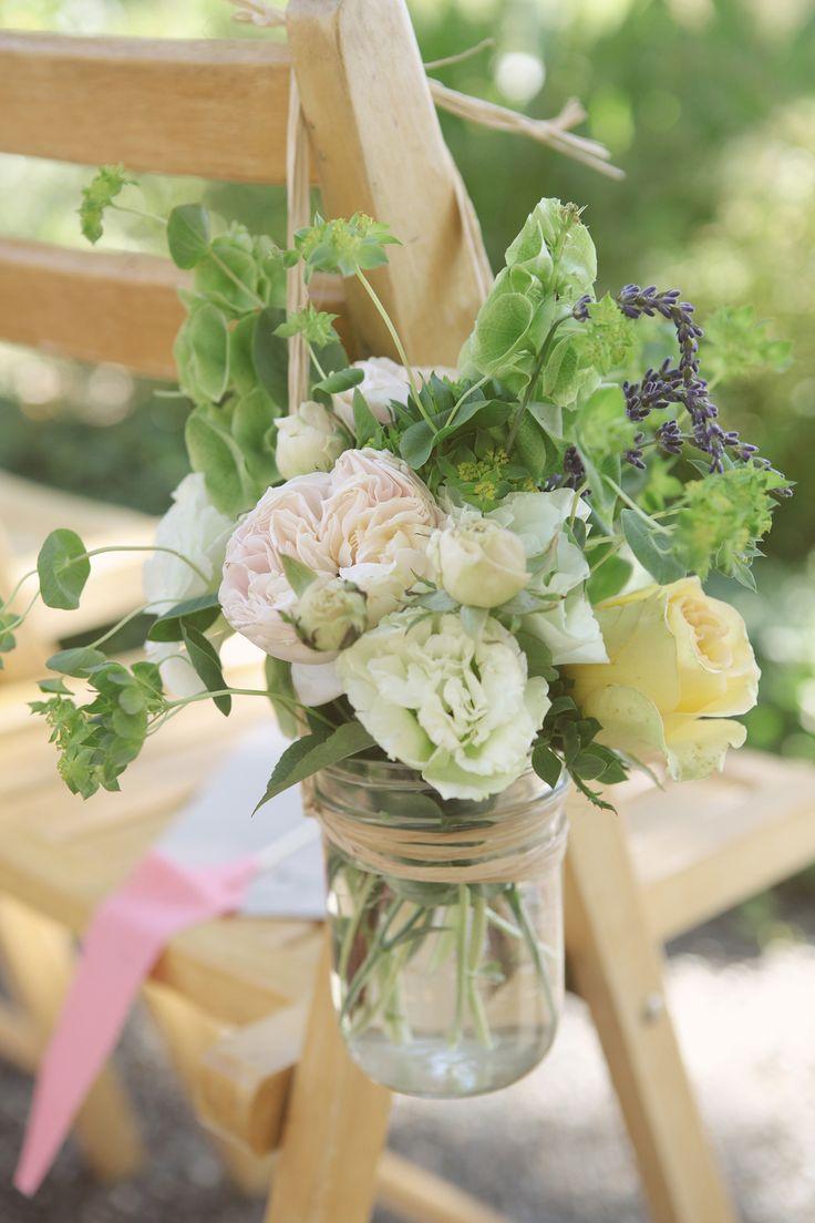 Mason jar crafts wedding - Mason Jar Vases Hanging On Chairs