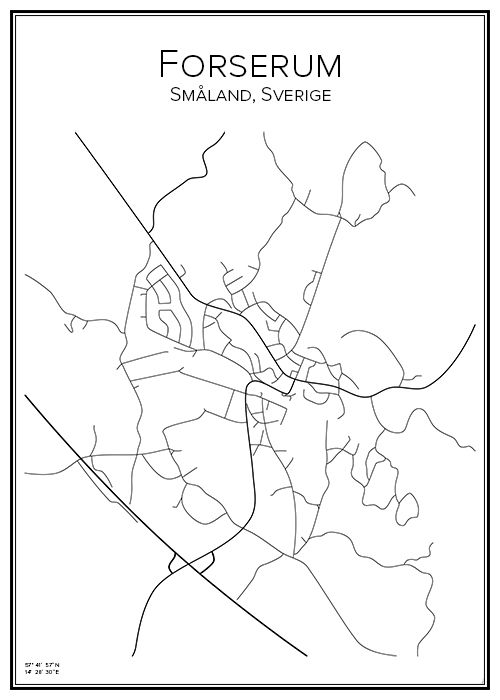 Forserum. Sverige. Karta. City print. Print. Affisch. Tavla. Tryck.