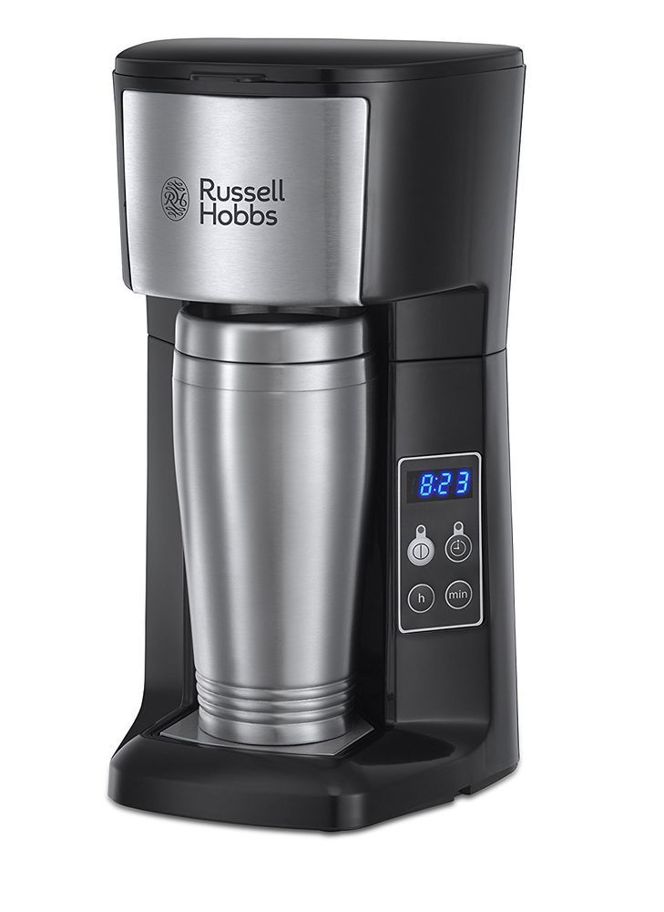 Brew and Go Compact Filter Coffee Machine and Travel Mug Cup Timer 400 ml Tough #RussellHobbs