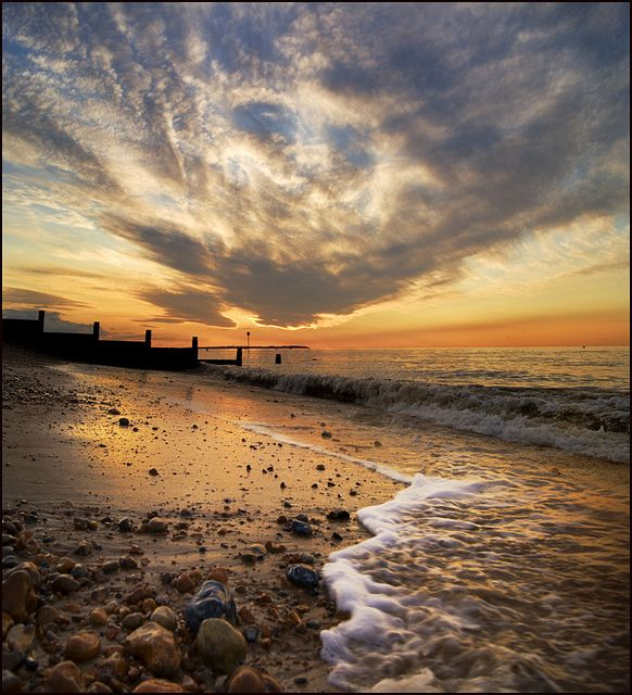 "Whitstable Beach, Kent Coast, England / spent quite a few times here at ""The…"