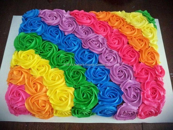Rainbow Rosettes sheet cake                                                                                                                                                                                 More