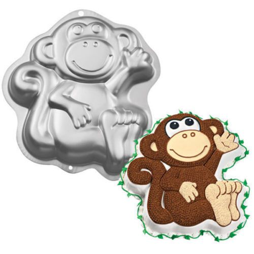 Wilton Silver Aluminum Monkey Shape Cake Pan Baking Tin Mold Celebration Party