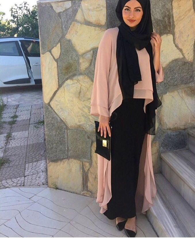 Pinterest: @eighthhorcruxx. Blush pink and black ♥ Muslimah fashion & hijab style