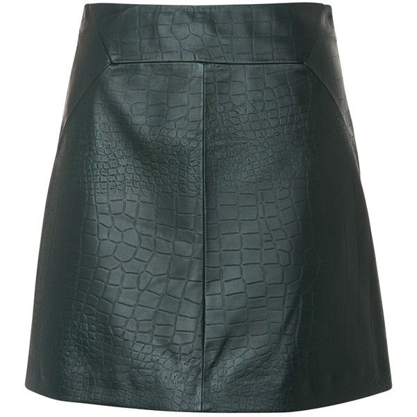 Whistles Leather Croc A-Line Skirt, Dark Green (10.745 RUB) ❤ liked on Polyvore featuring skirts, print skirt, leather a line skirt, leather skirt, real leather skirt and green a line skirt