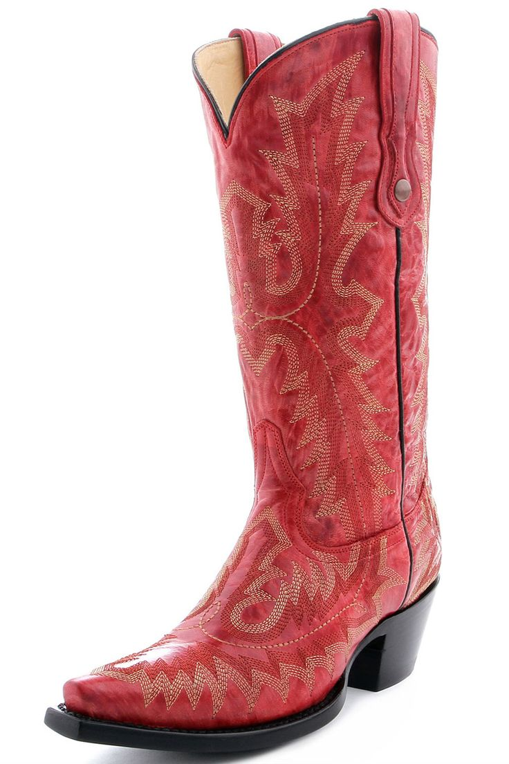Corral Picasso Red Full Stitch Cowgirl Boots