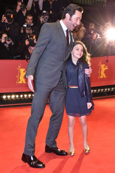 Hugh Jackman and Dafne Keen attend the 'Logan' premiere during the 67th Berlinale International Film Festival Berlin at Berlinale Palace on February 17, 2017