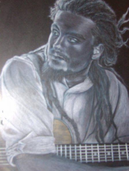 Pencil on black paper.John Butler. Drawing
