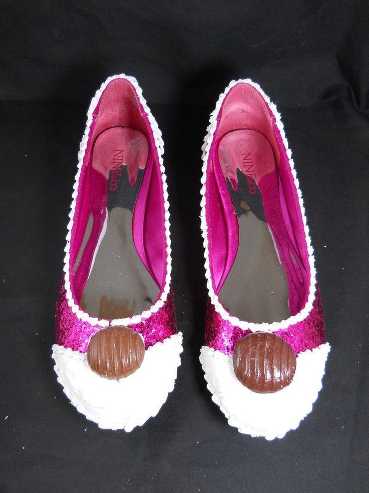 Pink Glitter Cupcake Shoes Size 9M Cake Flats #Handmade #BalletFlats