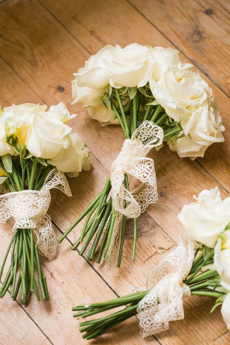 #lace, #bouquet, #rose Photography: M & J Photography - mandjphotos.com Read More: http://www.stylemepretty.com/2014/02/20/french-chateau-destination-wedding/
