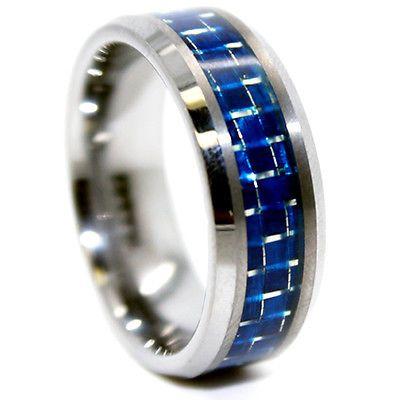 Tungsten men's ring with blue carbon fiber design.