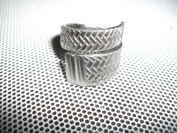 Stainless Steel Spoon/Fork Ring (Coiled), Tire Tread Pattern, Hypoallergenic, Low Maint, Earth Friendly Recycled, Upcycled Silverware by TrashToTrends on Etsy