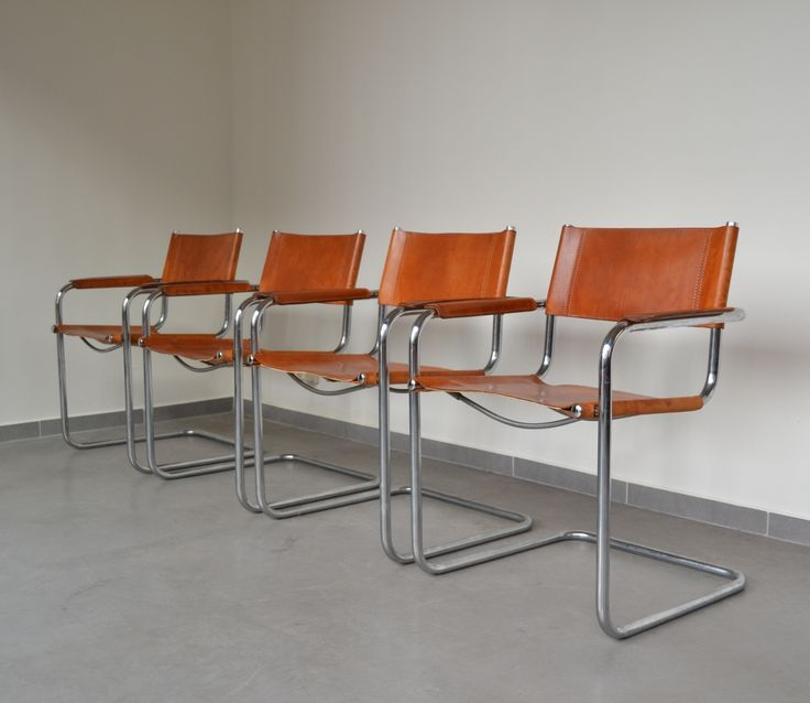 Set of 4 S34 cantilever arm chairs by Mart Stam for Fasem, 1970s