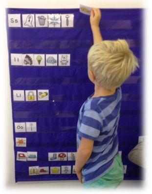 PY 1 - Uke 37; Elevene i 1.klasse har denne uken jobbet med bokstavene s, i, l og o. Her ser du en engasjert gutt som sorterer ord etter første lyd på sorterings-stasjonen vår i klasserommet:)