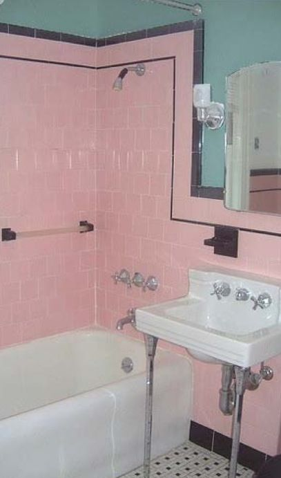 Original 1930s bathroom - pink tiles are classic colour ...