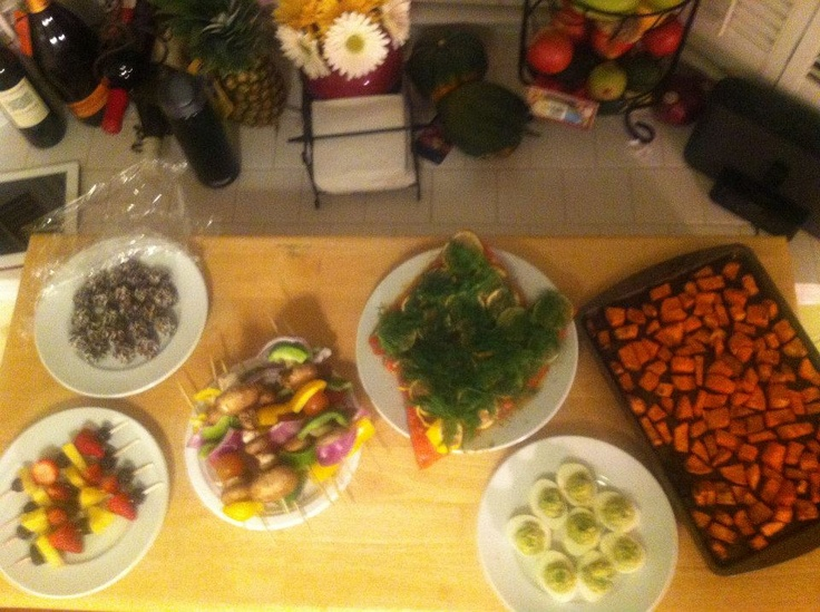 lemon and dill toasted sweet potatoes veggi and fruit kabobs followed ...