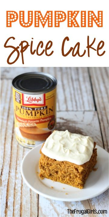 Pumpkin Spice Cake Recipe! ~ from TheFrugalGirls.com ~ this easy Fall dessert recipe is so simple and 100% Pumpkin deliciousness! #recipes #cakes #desserts #thefrugalgirls