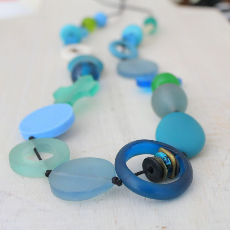 Blue Geometry Necklace, Large Aqua Resin Necklace, Chunky Necklace, Blue, Green and White by earlybirdcreations on Etsy