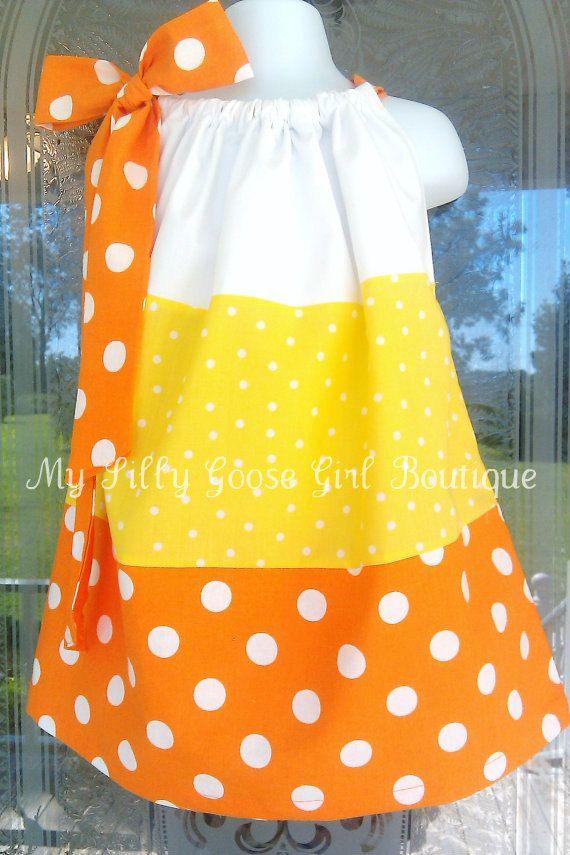 Candy Corn Pillowcase Dress. $27.00, via Etsy.