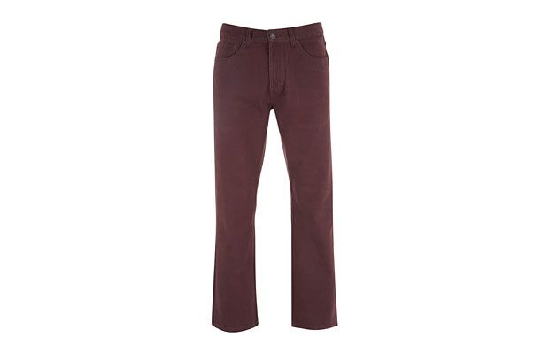 """Maroon Denim Jeans. """"Breathe new life into your denim collection. These maroon boot-cut jeans are perfect for the new season."""""""