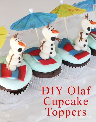 Olaf Cupcakes - make these adorable cupcake party toppers - ANYONE can do it!