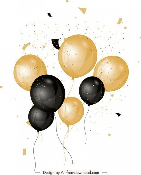 balloons background shiny black yellow clip art pinterest