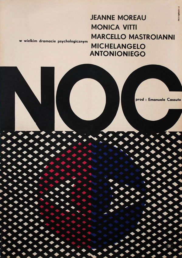 1966 Polish poster for LA NOTTE (Michelangelo Antonioni, Italy, 1961) [see also] Designer: Andrzej Onegin Dabrowski (1934-1986) Poster source: KinoArt.net
