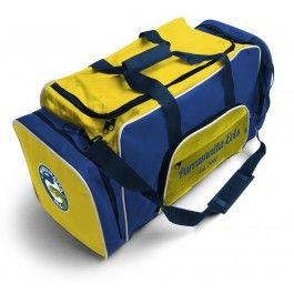 Parramatta Eels NRL Team Logo Two Tone Sports Training Bag - Official NRL endorsed licensed product - Support your team and present the logo wherever you go, unique colour pattern for each team - Large sports carry bag, with plenty of space, in NRL team colours   The bag features on: •Team logo •4 rubber feet on base, detachable shoulder strap and double reinforced stitching. •Large front zip pocket •Zip pockets on each side of the bag •Side net pocket for drink bottles •Carry handles…
