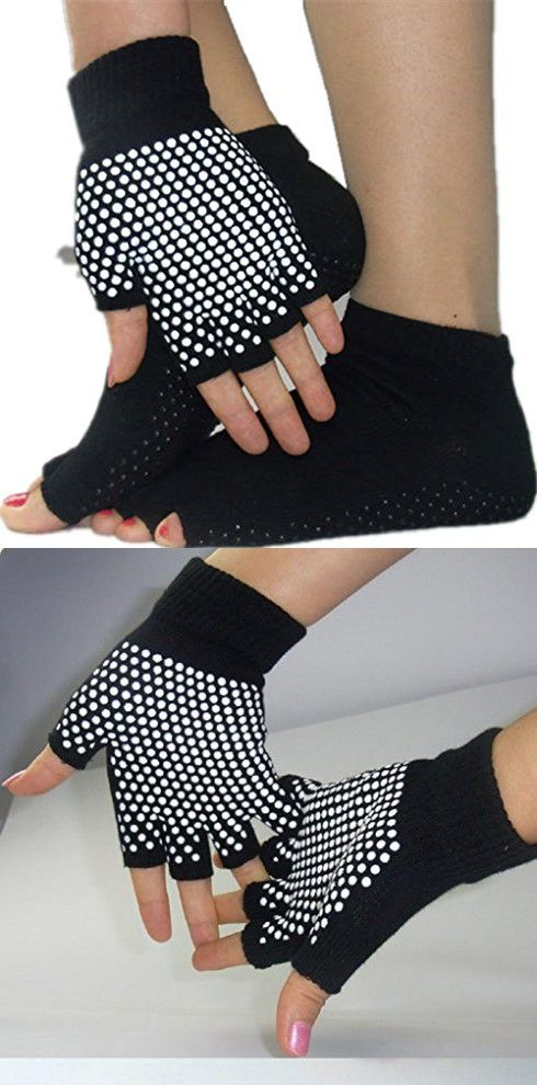 C.X Trendy Yoga Pilates Socks and Gloves Set, Cotton and Non Slip (One size, Black (group 4))