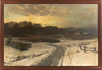 SOPHUS JACOBSEN FREDRIKSHALD 1833 - DUSSELDORF 1912  winter Landscape  Oil on canvas, 100x151 cm  Signed lower right: S. Jacobsen