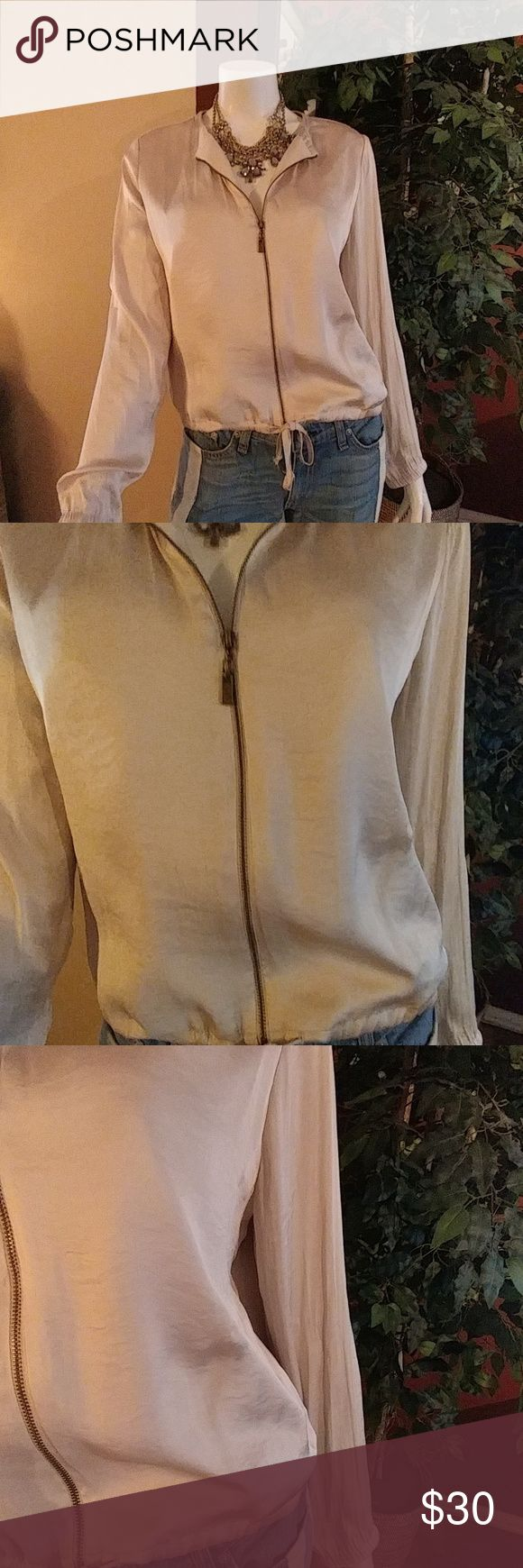 Romeo + Juliet Couture Lightweight Bomber Jacket Beautiful tan satin bomber jacket. Drawstring waist and elastic at the sleeves. Size M Romeo + Juliet Couture Tops