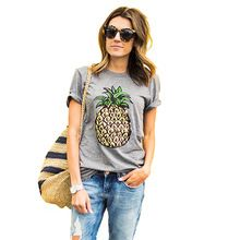 2016 Mulheres Verão camiseta Impressão Frutas Abacaxi T-shirt Casual O Pescoço de Manga Curta Tee Tops Tshirt Feminino Mulher Roupas(China (Mainland))