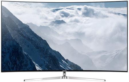 Телевизор Samsung UE65KS9000 65 дюймов Smart TV SUHD изогнутый  — 299990 руб. —  Прогрессивная модель телевизора Samsung UE65KS9000T имеет не только высокую производительность, но и удивительный дизайн. Изогнутая форма экрана создает камерную обстановку, гарантирует полное погружение в сюжет и удобство просмотра с любой точки. Тонкая металлическая рамка придает легкости и гармонично смотрится в любом интерьере. Картинка на экране — как живая за счет новейшей технологии Auto Depth Enhancer…