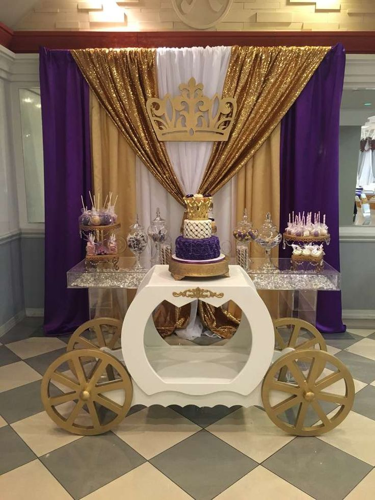 Gold and purple royal princess baby shower! See more party planning ideas at CatchMyParty.com!
